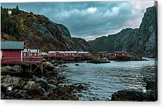 Norway Panoramic View Of Lofoten Islands In Norway With Sunset Scenic Acrylic Print