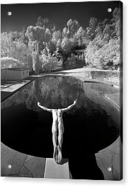 Nude Male Diving Into Dark Poolicarus Acrylic Print