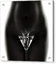 Nude Woman With Martini Splash Acrylic Print