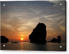 Nui Bay At Sunset At Phi Phi Islands Acrylic Print by Massimo Pizzotti