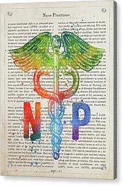 Nurse Practitioner Gift Idea With Caduceus Illustration 03 Acrylic Print