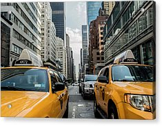 Acrylic Print featuring the photograph Ny Taxis by Top Wallpapers