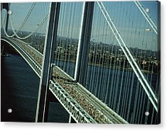 Nyc Marathon Runners On Bridge Acrylic Print by Frederic Lewis