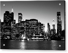 Nyc Skyline At Sunset Acrylic Print by Lisa-blue