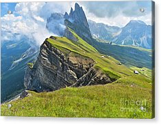 Odle Mountains Chain Separating The Acrylic Print