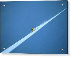 Off-piste Skier On Untouched Snow Field Acrylic Print