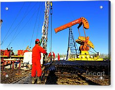 Oil Field Oil Workers At Work Acrylic Print