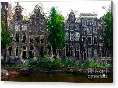 Oil Paint Effected Amsterdam Houses Acrylic Print