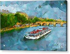 Oil Paint Paris Seine Boat Acrylic Print