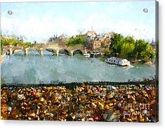 Oil Paint Paris Seine River Acrylic Print