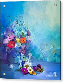 Oil Painting Flowers In Vase. Hand Acrylic Print