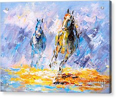 Oil Painting - Running Horse Acrylic Print