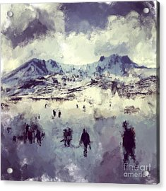 Oil Painting Snowy Mountains Acrylic Print