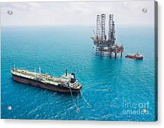 Oil Tanker And Oil Rig In The Gulf Acrylic Print