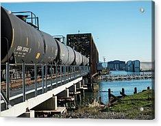 Oil Train Over Swinomish Channel Acrylic Print