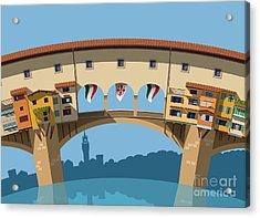 Old Bridge In Florence Flat Illustration Acrylic Print