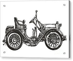 Old Car On A White Background. Sketch Acrylic Print