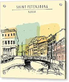 Old Center Of Saint Petersburg, Russia Acrylic Print