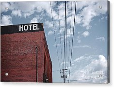 Old Dilapidated Brick Motel With Cloudy Acrylic Print