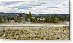 Acrylic Print featuring the photograph Old Faithful Inn Hotel In The Yellowstone National Park by Tatiana Travelways