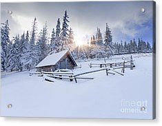 Old Farm In The Mountains At Winter Acrylic Print