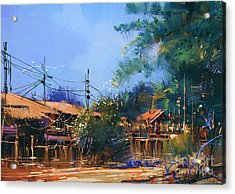 Old Fishing Village,oil Painting Acrylic Print