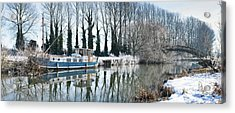 Old House Boat On The River Thames In Winter Acrylic Print by Tim Gainey