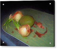 Acrylic Print featuring the mixed media Old Onions And Peels, Stylized by Lynda Lehmann