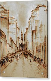 Old Philadelphia City Hall 1920 - Pencil Drawing Acrylic Print