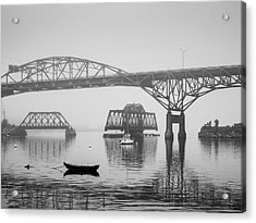 Acrylic Print featuring the photograph Old Sakonnet River Bridge IIi Bw by David Gordon