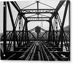 Acrylic Print featuring the photograph Old Sakonnet River Railroad Bridge Bw by David Gordon