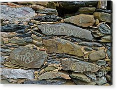 Old Schist Wall With Several Dates From 19th Century. Portugal Acrylic Print