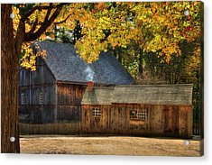 Acrylic Print featuring the photograph Old Weathered Barn In Fall by Joann Vitali