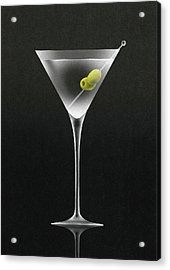 Olives In Martini Cocktail Glass Acrylic Print