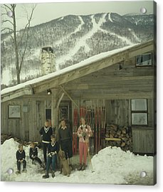 On The Slopes In Stowe Acrylic Print by Slim Aarons