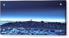 Acrylic Print featuring the digital art One Tree Hill - Blue 4 by Darryl Dalton