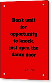 Open The Door      Black On Red Acrylic Print