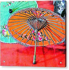 Acrylic Print featuring the photograph Orange And Green Oriental Parasols by Dorothy Berry-Lound
