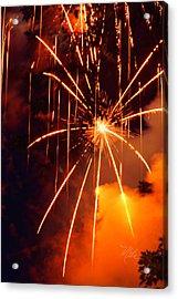 Orange Fireworks Acrylic Print