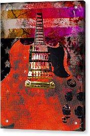 Orange Electric Guitar And American Flag Acrylic Print