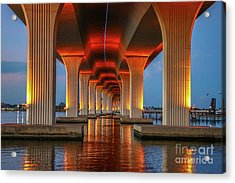 Orange Light Bridge Reflection Acrylic Print