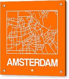 Orange Map Of Amsterdam Acrylic Print