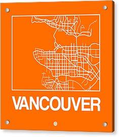 Orange Map Of Vancouver Acrylic Print