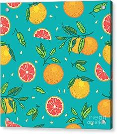 Orange Or Grapefruit With Leaves Acrylic Print