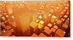 Orange Three Dimensional Rectangular Acrylic Print by Ralf Hiemisch