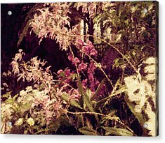 Acrylic Print featuring the mixed media Orchids In The Atrium by Susan Maxwell Schmidt