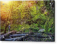 Oregon Mossy Gorge Hiker. Young Hiker Acrylic Print