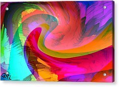 Acrylic Print featuring the painting Original Fine Art Digital Abstract Warp10b by G Linsenmayer