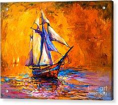 Original Oil Painting On Canvas-sail Acrylic Print