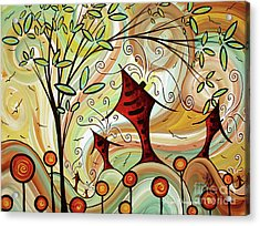 Original Whimsical Houses Landscape Paintings Fire Poppies By Megan Duncanson Acrylic Print